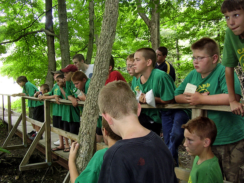 campers looking over a bridge at Camp O'Bannon