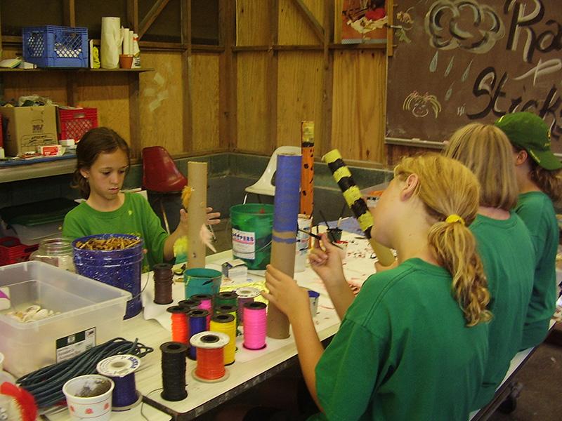 Campers making crafts
