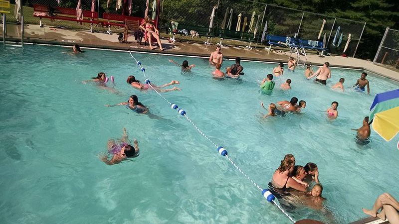 Campers swimming in the pool
