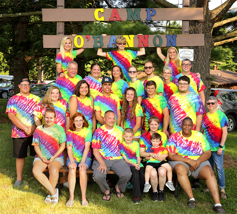 Camp O'Bannon Campers and Staff wearing tie-dye shirts